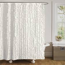 bathroom white ruffle shower curtain  white ruffled shower