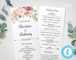 wedding program wedding program template instant bohemian floral wedding program edit in our web app printable ceremony program