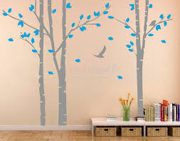birch tree forest and flying birds wall decal blue