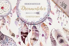 What Native American Tribes Use Dream Catchers Watercolor boho dreamcathers ClipArt Watercolor Dream Catchers 76