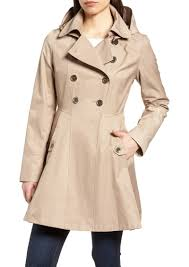 via spiga double ted fit flare trench coat