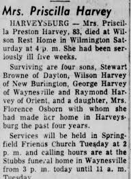 Obituary for Priscilla Preston Harvey (Aged 83) - Newspapers.com