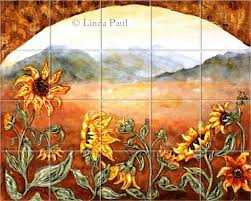 Mural Tiles For Kitchen Decor Sunflower Field Tile Kitchen Backsplash Mural by artist Linda Paul 61