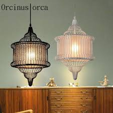 whole modern new chinese style lights iron cage chandelier coffee bar living room creative personality chandelier glass ceiling lights hanging lamp
