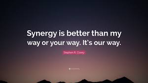 "My Wife Quotes Beauteous Stephen R Covey Quote ""Synergy Is Better Than My Way Or Your Way"