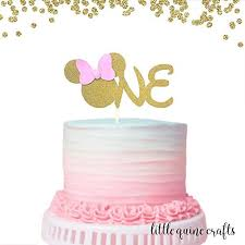Amazoncom 1 Pc One Minnie Mouse Head Pink Gold Glitter Cake Topper