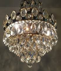 9 of 11 antique french basket style brass crystals chandelier from 1950 s