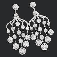 designer diamond chandelier earrings 1588ct 18k gold diamond chandelier