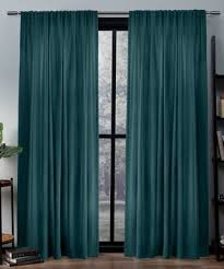 exclusive home peacock teal light filtering curtain panel set of two