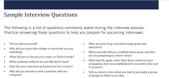 Interview Questions Sample Interview Questions KelleyConnect Kelley School of Business 1