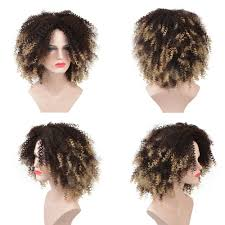 Natural Hair Style Wigs aliexpress buy deyngs short afro kinky curly synthetic wigs 2401 by stevesalt.us
