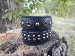 leather black wide bracelet rocker wide leather bracelet mens leather bracelet leather bracelets with studs leather bracelet for women