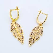 Arabic Gold Jewellery Designs Hot Item Gold Plated Arabic Style Silver Fashion Dangler Earrings Leaf Earring For Women And Girls