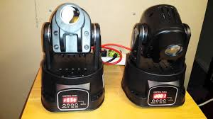 setting up two 15w mini led moving head spots sound to light master slave mode you