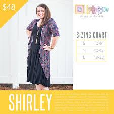 Lularoe Size Chart Lularoe Shirley Sizing Chart Lularoe Shirley Sizing