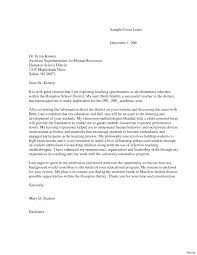 Examples Of Cover Letters For Resumes Sample Cover Letter For Teacher Assistant Teaching Letters Resume 53