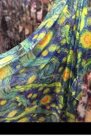 Starry Night Design Chiffon Lace Fabric Van Gogh Starry Night Design Lace Fabric Colorful French Fabric Costume Supplies By Yard