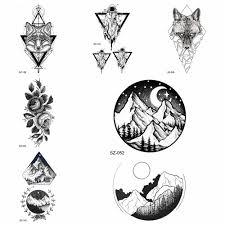 юрская геометрическая временная татуировка наклейки женский боди арт