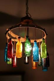 diy glass bottle chandelier image source