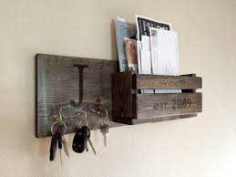 Next Day Free Expedited Processing & Quick Ship Rustic Monogram Mail and Key  Holder in Ebony, Letter and Key Organizer, Personalized Wedding
