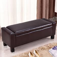 gymax brown 43 pu leather ottoman bed bench storage footstool organizer furniture com
