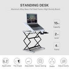 standing desk riser 14 x13 surface 40 degree tilt 31 max height sit