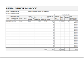 log book template rental vehicle log book template for excel excel templates