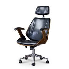 baxton studio hamilton walnut black faux leather office chair with headrest