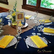 Navy and Yellow Rustic Themed Wedding Table Decor