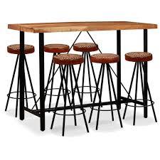 Vidaxl Bar Set 7 Tlg Sheesham Holz Massiv Echtleder Und