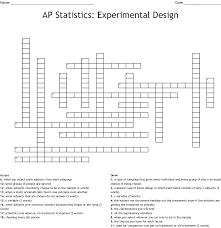 Experimental Design Diagram Answers Ap Statistics Experimental Design Crossword Wordmint