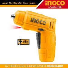 Máy bắn vít cầm tay INGCO CSDLI0402 kèm 10 mũi siết vít 25mm, 1 mũi từ, 1  cục sạc. Máy siết vít mini dùng pin Lithium 4V - Máy vặn vít, tua vít