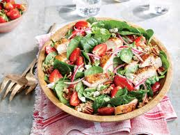 grilled chicken salad with strawberries.  Grilled On Grilled Chicken Salad With Strawberries