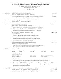 Mechanical Engineer Intern Resume Sample Profesional Resume Template