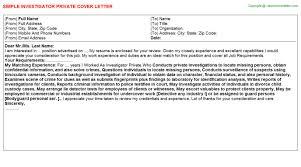 background investigator level cover letters   investigator private