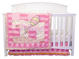 dr seuss oh the places you ll go pink 3 piece crib bedding set trend lab
