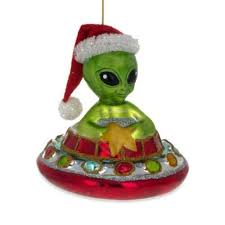 <b>Santa</b> Alien in a Saucer UFO <b>Glass Christmas</b> Ornament 4.2 Inches ...