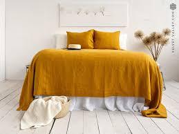 amber yellow linen bedspread saffron