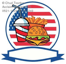 american food clipart.  Clipart Clipart Image Of An American Flag Behind French Fries A Soda And  Cheeseburger With Ribbon Underneath Food R