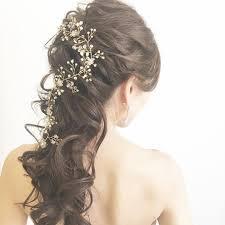 Weddinghair ハーフアップ ウェディングヘア 小枝アクセサリー プレ