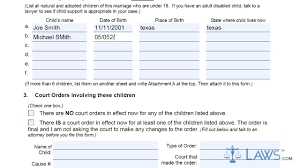 Form Petition For Divorce With Children Texas