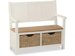 suffolk buttermilk monk bench with basket furniture barn