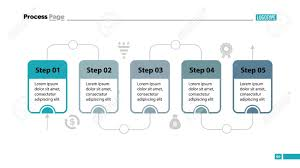 Flow Template Five Steps Process Chart Slide Template Business Data Flow