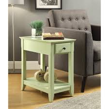 acme furniture bertie light green storage side table  the