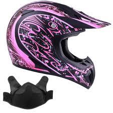 Typhoon Womens Snocross Snowmobile Helmet With Breath Box Matte Pink Small