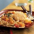 baked goat cheese and roasted winter squash over garlicky pasta