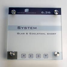 glass signs short 100x100 mm with 4 spacers door signs