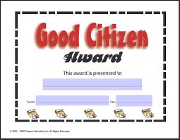 Good Citizen Award Certificate Lessons Worksheets And