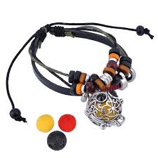 hooami aromatherapy essential oil diffuser locket charm bracelet adjustable leather wrist cuff owl ce17z3zw3as