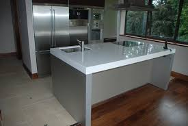 a dupont zodiac composite kitchen island worktop in the snow white colour it is 30mm